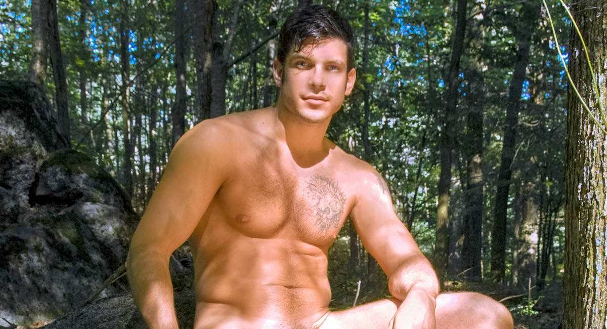 Gay Mature Men : Cooling Off in The Woods - Derek Strong!