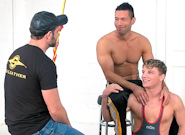 Gay Muscle Men : Post Game Analysis - Doug -amp; Alexander (Spank) - Doug Acre -amp; Alexander Garrett!