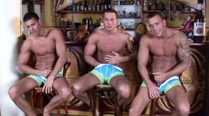 Gay Orgy GroupSex : Bar threesome Solo - Jason Visconti -amp; Jimmy Visconti -amp; Joey Visconti!