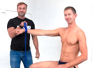 Gay Muscle Men : Single Rope Cuff With Loop!